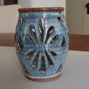 Gorgeous pierced pottery candle lantern